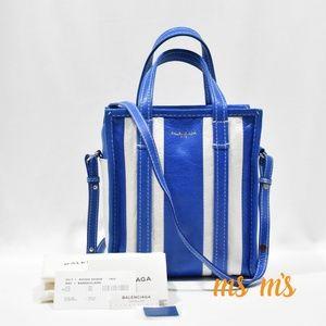NWT Balenciaga blue white leather xs Shopper
